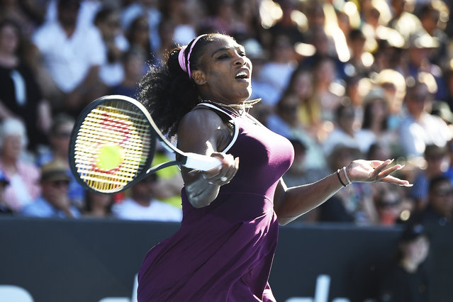 United States Serena Williams makes a return during her finals singles match against United States Jessica Pegula at the ASB Classic in Auckland, New Zealand, Sunday, January 12, 2020. (Photo by Chris Symes/Photosport via AP Photo)