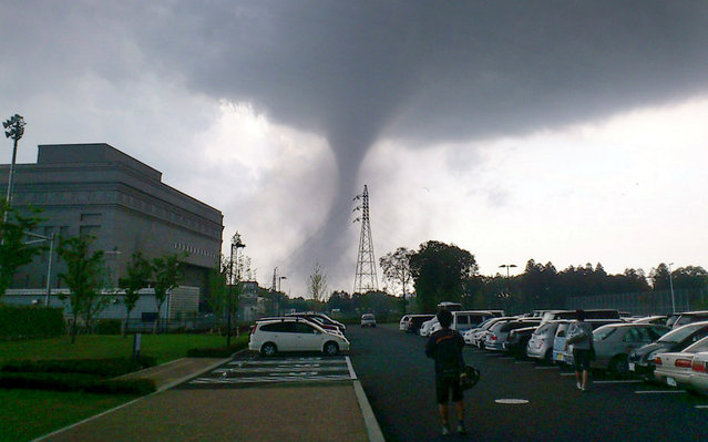 A tornado strikes Tsukuba city, northeast of Tokyo on May 6, 2012. The tornado tore through the area, injuring at least 30 people, destroying dozens of homes and leaving thousands more without electricity