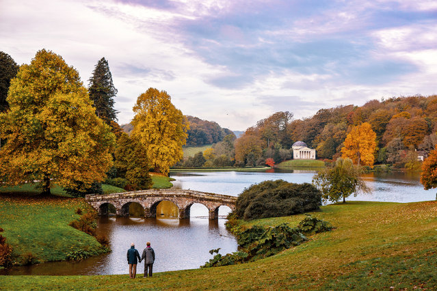 Sunrise over the lake at Stourhead a National Trust estate, Warminster England on 23 October 2018. (Photo by South West News Service)