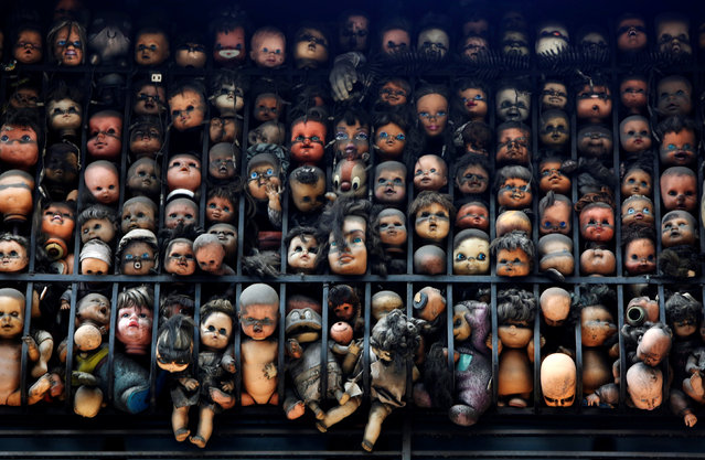 Dolls are seen on the balcony of artist and collector Etanis Gonzalez in Caracas, Venezuela, July 16, 2016. (Photo by Carlos Jasso/Reuters)