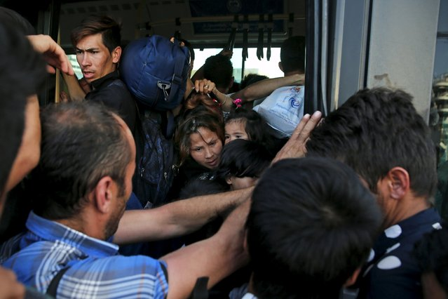A migrant woman holding a baby is squeezed as they try to board a bus following their arrival onboard the Eleftherios Venizelos passenger ship at the port of Piraeus, near Athens, Greece September 7, 2015. (Photo by Alkis Konstantinidis/Reuters)