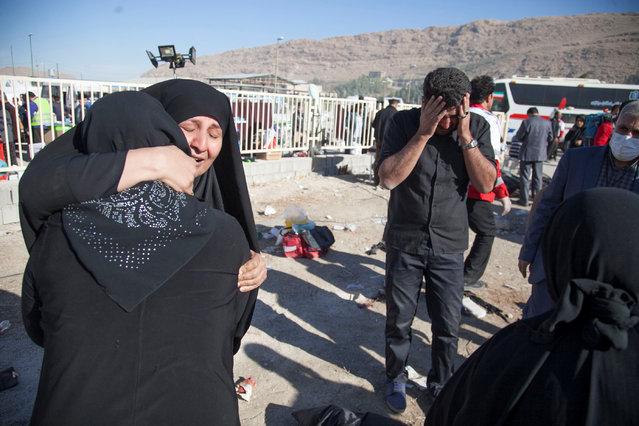 People react following an earthquake in Sarpol-e Zahab county in Kermanshah, Iran, Monday, November 13, 2017. (Photo by Reuters/Tasnim News Agency)