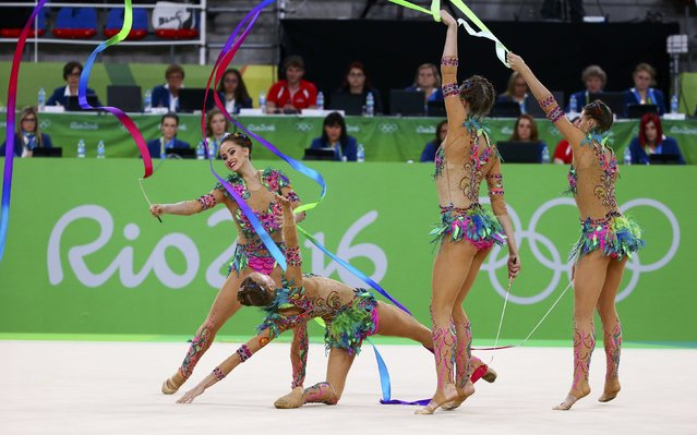 2016 Rio Olympics, Rhythmic Gymnastics, Final, Group All-Around Final, Rotation 1, Rio Olympic Arena, Rio de Janeiro, Brazil on August 21, 2016. Team Russia (RUS) compete using ribbons. (Photo by David Gray/Reuters)