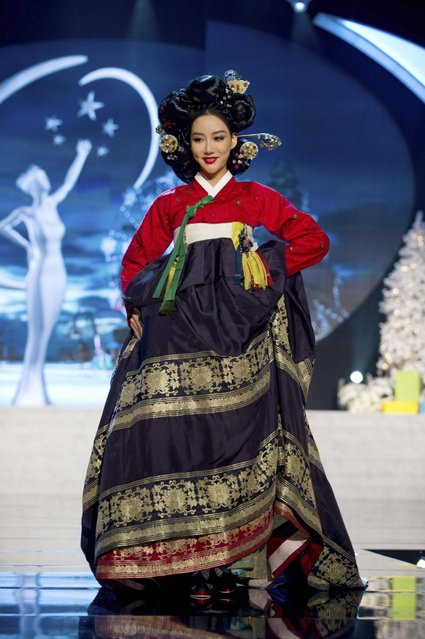 Miss Korea Sung-hye Lee on stage at the 2012 Miss Universe National Costume Costume Show on Friday, December 14, 2012 at PH Live in Las Vegas, Nevada. The 89 Miss Universe Contestants will compete for the Diamond Nexus Crown on December 19, 2012. (Photo by AP Photo/Miss Universe Organization L.P., LLLP)