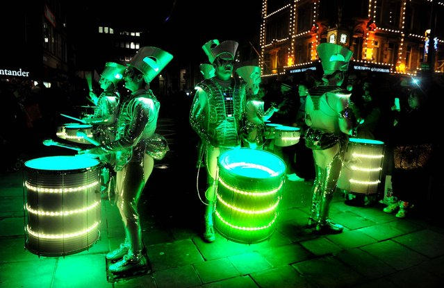 The Spark drumming band participates in new year celebrations in Newcastle, England. (Photo by Owen Humphreys/Press Association)