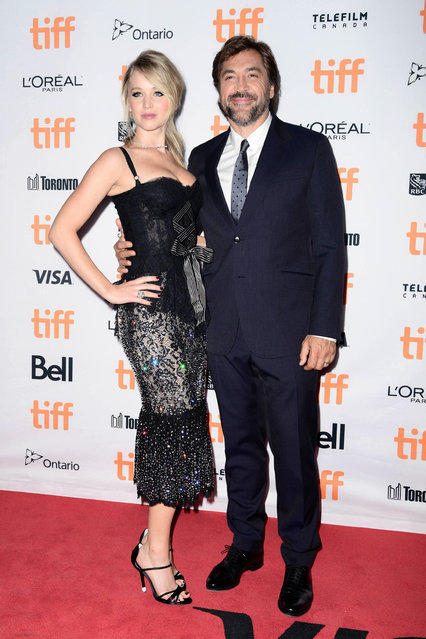 "Jennifer Lawrence (L) and Javier Bardem attend the 2017 Toronto International Film Festival premiere of ""mother!"" at Princess of Wales Theatre on September 10, 2017 in Toronto, Canada. (Photo by Emma McIntyre/Getty Images for Paramount Pictures)"