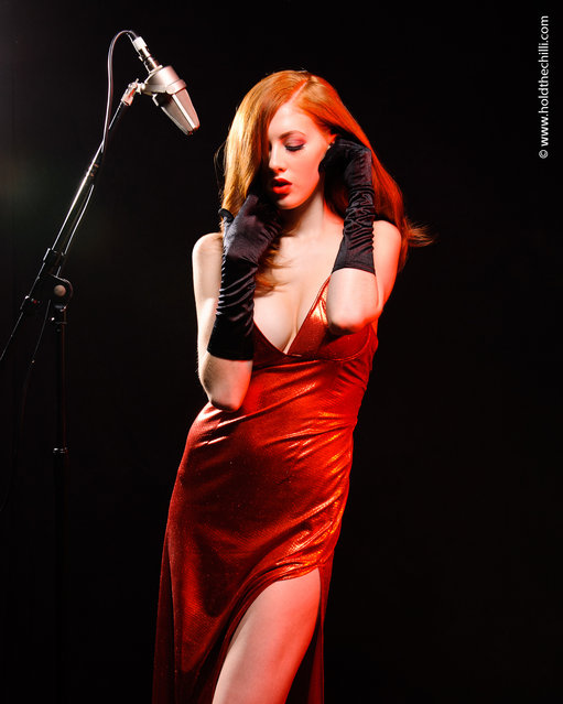 Jessica Rabbit/Rock Chick Shoot. Model: Scarlett. Location: Adrian Pini Studios, London. (Photo by Hold The Chilli)