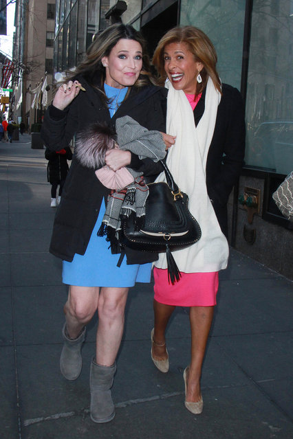 Savannah Guthrie and New Co-Anchor Hoda Kotb outside of the Today Show in New York, NY on January 2, 2018. (Photo by Roger Wong/INSTARimages.com)