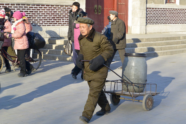 Daily life in the authoritarian regime in February 2013, in Pyongyang, North Korea. (Photo by Andrew Macleod/Barcroft Media)
