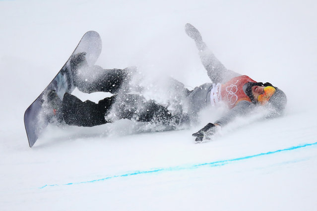 Jan Scherrer of Switzerland crashes during the Snowboard Men's Halfpipe Final on day five of the PyeongChang 2018 Winter Olympics at Phoenix Snow Park on February 14, 2018 in Pyeongchang-gun, South Korea. (Photo by Cameron Spencer/Getty Images)