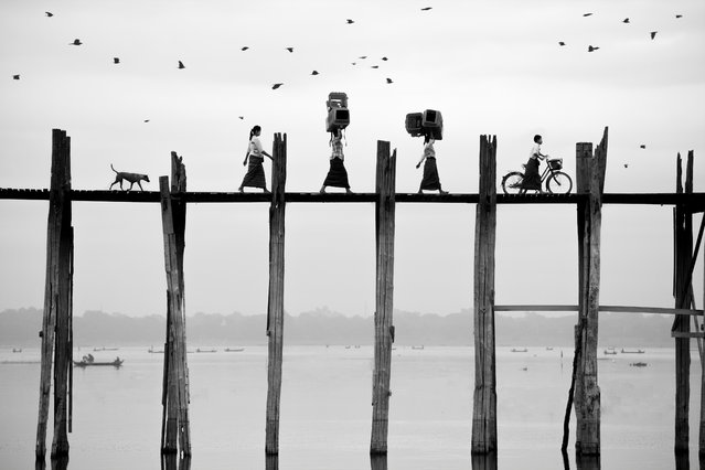 Open travel and Thailand national award third-place winner by Suphakaln Wongcompune. The bridge in Wongcompune's photograph, titled Walking on the U-Bein Bridge in Myanmar, dates from 1850. (Photo by Suphakaln Wongcompune/Sony World Photography Awards 2018)