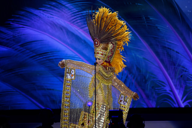 Miss Honduras, Gabriela Ordonez, poses for the judges, during the national costume show during the 63rd annual Miss Universe Competition in Miami, Fla., Wednesday, January 21, 2015. (Photo by J. Pat Carter/AP Photo)