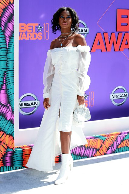 Mouna Traoré arrives at the BET Awards at the Microsoft Theater on Sunday, June 24, 2018, in Los Angeles. (Photo by Leon Bennett/Getty Images)