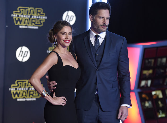 "Sofia Vergara, left, and Joe Manganiello arrive at the world premiere of ""Star Wars: The Force Awakens"" at the TCL Chinese Theatre on Monday, December 14, 2015, in Los Angeles. (Photo by Jordan Strauss/Invision/AP Photo)"