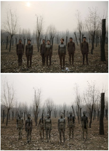 """This combination picture shows models posing before (top) and after they are painted in camouflage colours to blend in with the background for Chinese artist Liu Bolin's artwork """"Dongji"""", or Winter Solstice, on the second day after China's capital Beijing issued its second ever """"red alert"""" for air pollution, in Beijing, China, December 20, 2015. (Photo by Kim Kyung-Hoon/Reuters)"""