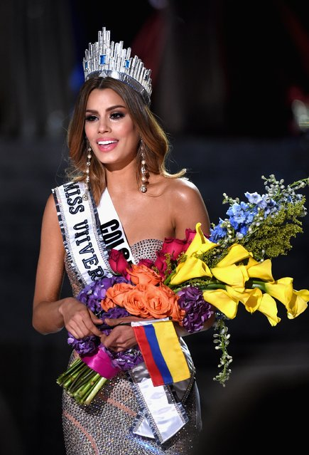 Miss Colombia 2015, Ariadna Gutierrez, is incorrectly named Miss Universe 2015 instead of First Runner-up during the 2015 Miss Universe Pageant at The Axis at Planet Hollywood Resort & Casino on December 20, 2015 in Las Vegas, Nevada. The winner of Miss Universe 2015 is Miss Philippines 2015, Pia Alonzo Wurtzbach (not pictured). (Photo by Ethan Miller/Getty Images)
