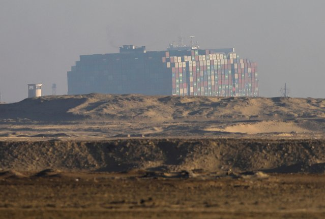 A view shows the partially re-floated container ship Ever Given, one of the world's largest container ships, in Suez Canal, Egypt on March 29, 2021. (Photo by Mohamed Abd El Ghany/Reuters)
