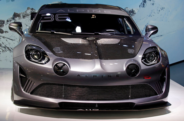 The Alpine A110 GT4 is on display at the Auto show in Paris, France, Tuesday, October 2, 2018, 2018. (Photo by Regis Duvignau/Reuters)