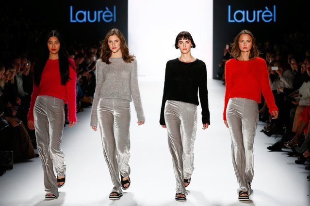 Models walk the runway at the Laurel show during the Mercedes-Benz Fashion Week Berlin Autumn/Winter 2016 at Brandenburg Gate on January 20, 2016 in Berlin, Germany. (Photo by Frazer Harrison/Getty Images for Laurel)