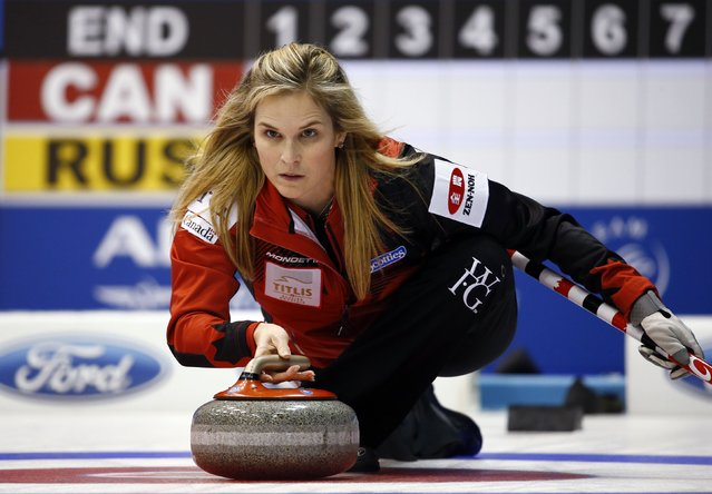 Canada's skip Jennifer Jones delivers a stone during their curling round robin game against Russia at the World Women's Curling Championship in Sapporo March 16, 2015. (Photo by Thomas Peter/Reuters)