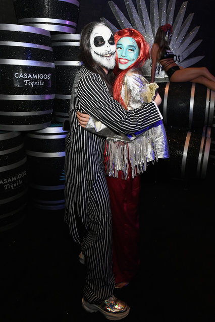 Steve Aoki (L) and Nicole Zimmermann attend Casamigos Halloween party at CATCH Las Vegas at ARIA Resort & Casino on October 27, 2018 in Las Vegas, Nevada. (Photo by Bryan Steffy/Getty Images for Casamigos)