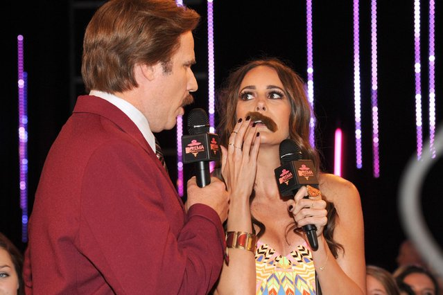 Will Ferrell and Louise Roe and their moustaches attend the MTV EMA's 2013. (Photo by Kevin Mazur/WireImage)