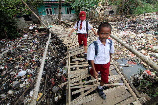 Students cross a bamboo bridge, above a garbage-filled stream branching off the Ciliwung River, in Bogor, Indonesia on September 26, 2018. (Photo by Yulius Satria Wijaya/Reuters/Antara Foto)