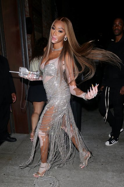 Jamaican-Canadian fashion model Winnie Harlow stuns in diamond glittered gown while spotted leaving a belated birthday dinner at TAO in Los Angeles on August 4, 2021. Winnie turned 27 years old last week. (Photo by Backgrid USA)