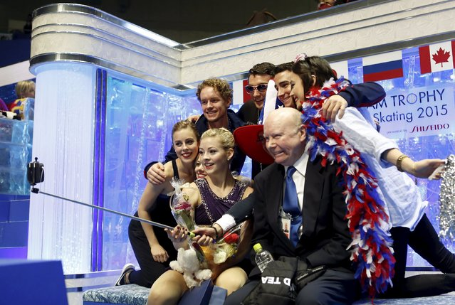 "Gracie Gold (C) of the U.S. and her teammates pose for a ""selfie"" photo at the ""kiss and cry"" at the ISU World Team Trophy in Figure Skating in Tokyo April 18, 2015. (Photo by Yuya Shino/Reuters)"