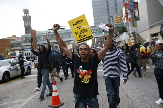 Protesters gather for a rally to protest the death of Freddie Gray who died following an arrest in Baltimore, Maryland April 25, 2015. (Photo by Shannon Stapleton/Reuters)