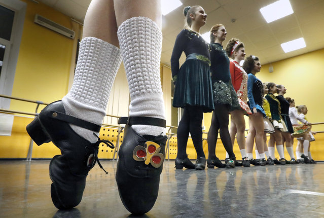 Girls during a class at the Teire Irish dance school in Moscow, Russia on March 15, 2019. (Photo by Sergei Karpukhin/TASS)