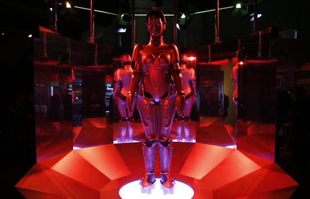 """A replica of """"Maria"""" robot designed and featured in Fritz Lang's Metropolis on display, during a press preview for the Robots exhibition held at the Science Museum in London, Tuesday, February 7, 2017. (Photo by Alastair Grant/AP Photo)"""