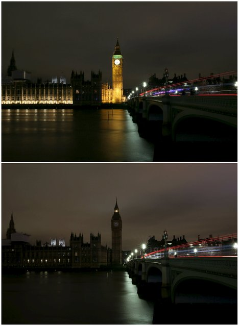 This combination picture shows the Houses of Parliament  before (top) and after the lights were switched off for Earth Hour in London, Britain March 19, 2016. (Photo by Neil Hall/Reuters)