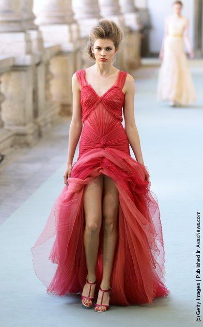 A model walks the runway at the Luisa Beccaria Spring/Summer 2012 fashion show as part of Milan Womenswear Fashion Week