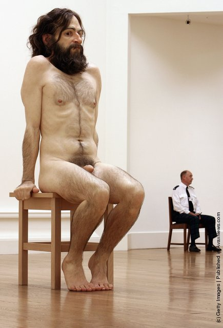 An exhibition piece entitled Wild Man is seen ahead of the opening of the Ron Mueck exhibition