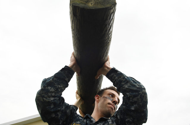 United States Naval Academy plebe, John Slavens takes part in log pt during Sea Trials at the United States Naval Academy on Tuesday May 17, 2016 in Annapolis, MD. (Photo by Matt McClain/The Washington Post)