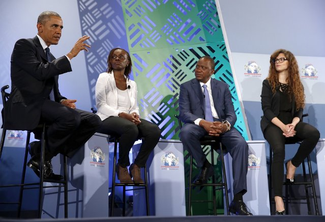 U.S. President Barack Obama (L) and Kenya's President Uhuru Kenyatta (2nd R) take part in a roundtable with young businesspeople at the Global Entrepreneurship Summit at the United Nations compound in Nairobi, Kenya July 25, 2015. (Photo by Jonathan Ernst/Reuters)