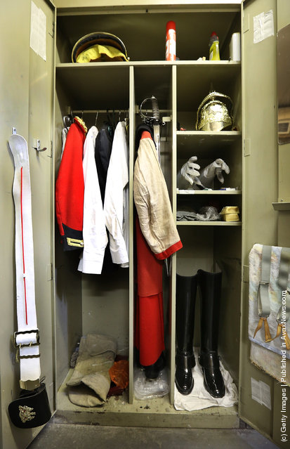 A locker belonging to a trooper of The Household Cavalry Mounted Regiment (HCMR) is shown to reporters at Hyde Park Barracks