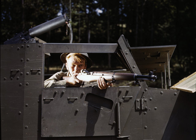 Halftrack infantryman with Garand rifle, at Ft. Knox, Kentucky, in June of 1942