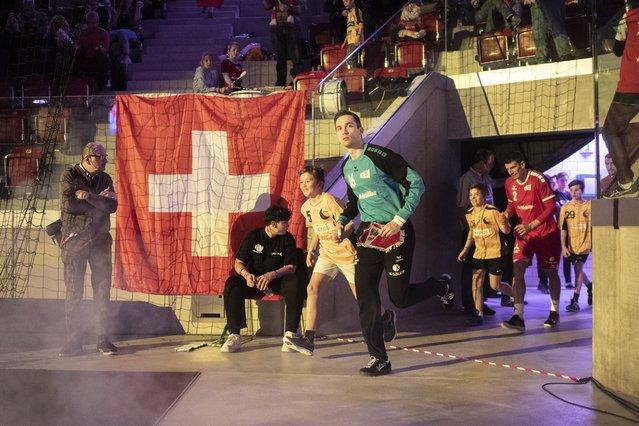 Switzerland's Nikola Portner during the Yellow Cup Handball game between Switzerland and Netherlands in Switzerland, Winterthur, Sunday 05 January 2020. (Photo by Ennio Leanza/Keystone)