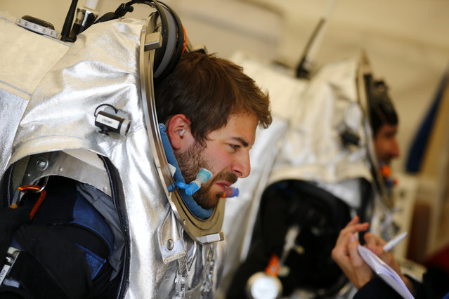 Stefan Dobrovolny of Austria (L) and Inigo Munoz Elorza of Spain are prepared for a simulated Mars mission on Tyrolean glaciers in Kaunertal August 7, 2015. (Photo by Dominic Ebenbichler/Reuters)