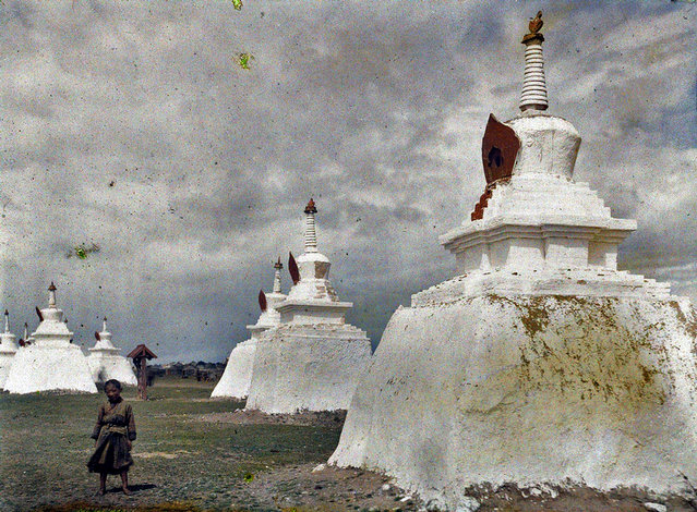 Stupas in a monastic block Gandan in Urga