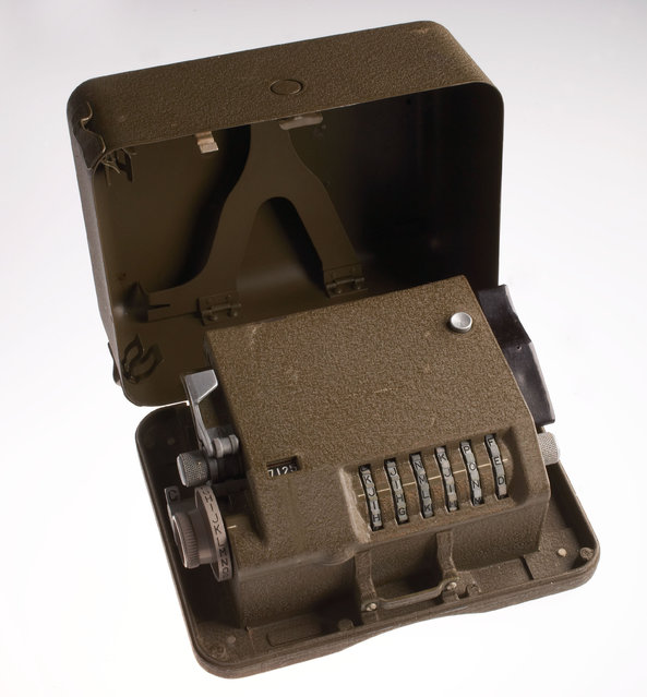 The M-209 is a mechanical cipher device. Designed by Boris Hagelin, the machine was widely used by the U.S. Army during World War II. Compact and portable, it used a series of rotors to encode and decode secret military messages. (Photo by Central Intelligence Agency)