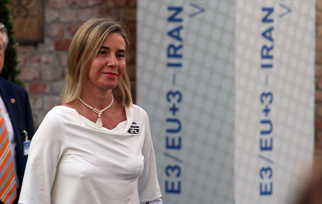 European Union High Representative Federica Mogherini arrives at the Palais Coburg, where closed-door nuclear talks with Iran are taking place, in Vienna, Austria, Sunday, July 5, 2015. (Photo by Ronald Zak/AP Photo)