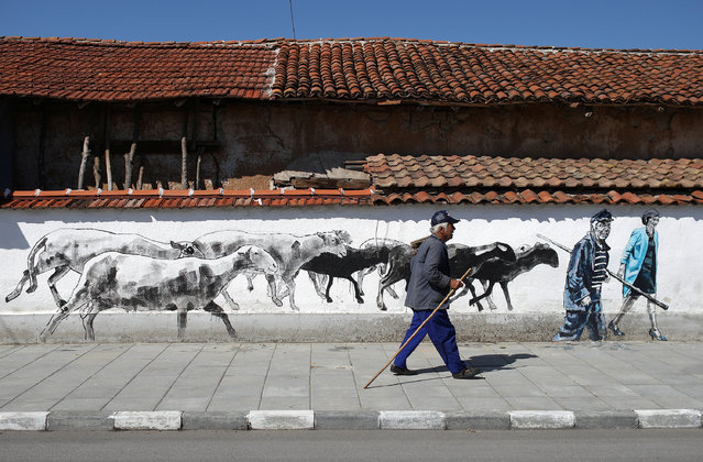 Local villager Lazar, walks past murals on the wall of his house, depicting him and Britain's Prime Minister Theresa May, in the village of Staro Zhelezare, Bulgaria, July 28, 2017. (Photo by Stoyan Nenov/Reuters)