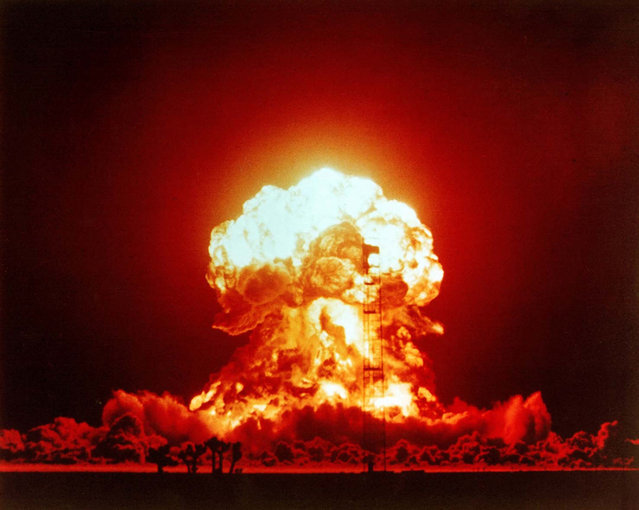 The BADGER shot was a 23 kiloton nuclear bomb. Over 2,000 US soldiers were within 3.7 kilometers of the explosion. (Photo by Alamy Stock Photo)