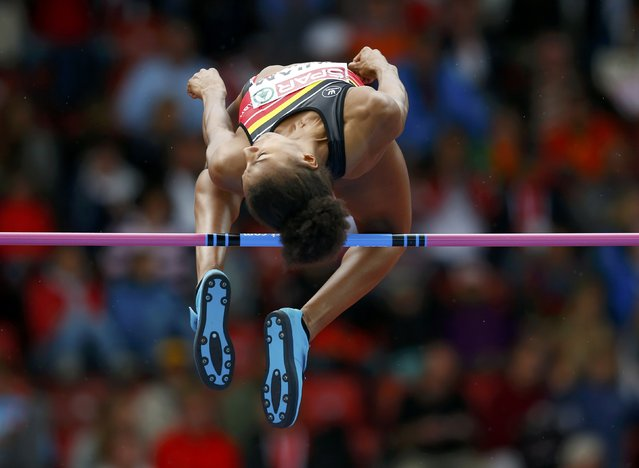 Nafissatou Thiam of Belgium competes in the high jump event of women's heptathlon during the European Athletics Championships at the Letzigrund Stadium in Zurich August 14, 2014. (Photo by Phil Noble/Reuters)