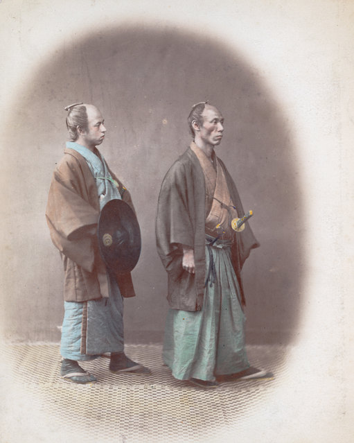 Japanese samurai, aristocratic warriors in the service of a lord, circa 1865. (Photo by Felice Beato)