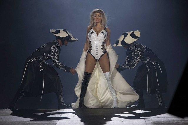 U.S. singer Fergie performs at the Rock in Rio music festival in Rio de Janeiro, Brazil, Saturday, September 16, 2017. (Photo by Leo Correa/AP Photo)