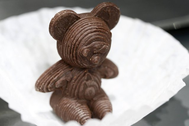 A chocolate bear printed with a 3D food printer of the company XYZprinting is seen the IFA Electronics show in Berlin, Germany, September 2, 2015. (Photo by Axel Schmidt/Reuters)